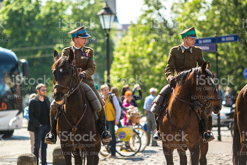 Participants annual of Polish national holiday the Constitution Day stock photo