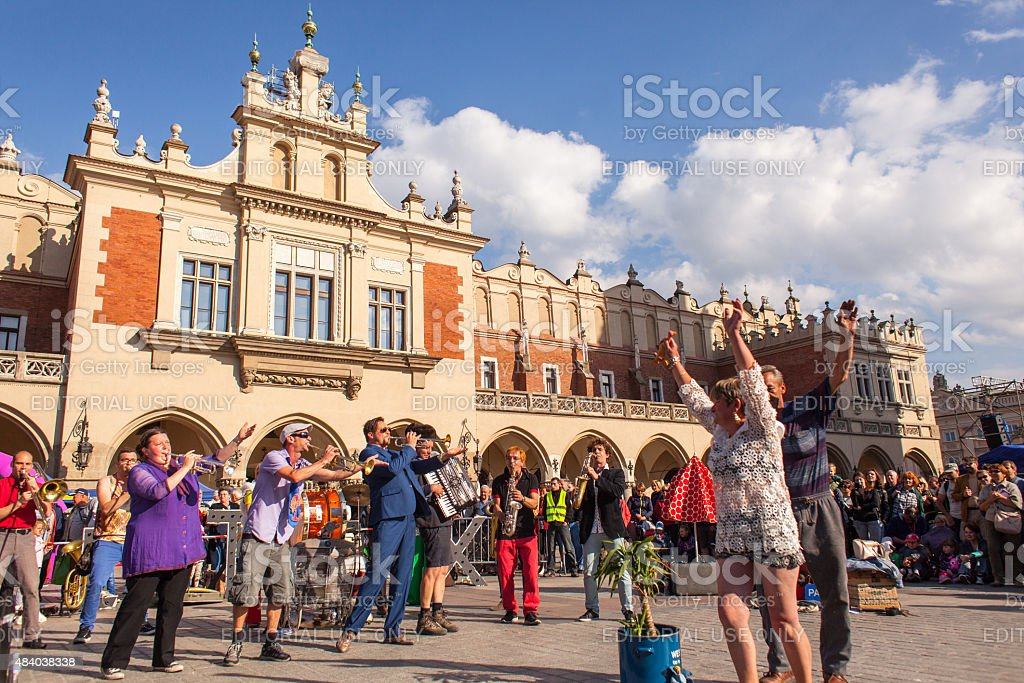 Participants at the annually International Festival of Street Theatres stock photo