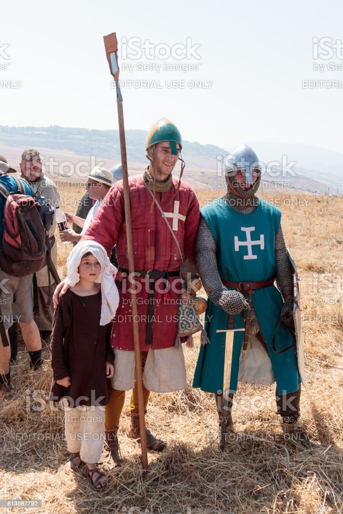 Participants in the reconstruction of Horns of Hattin battle in 1187 posing for photographers after the battle near Tiberias, Israel stock photo