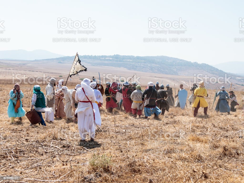 Participants in the reconstruction of Horns of Hattin battle in 1187 participate in the battle on foot on the battlefield near Tiberias, Israel stock photo