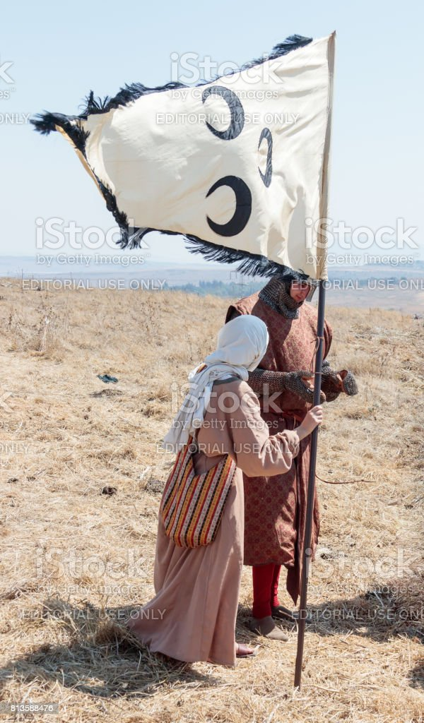 Participants in the reconstruction of Horns of Hattin battle in 1187 stand on the battlefield near Tiberias, Israel stock photo