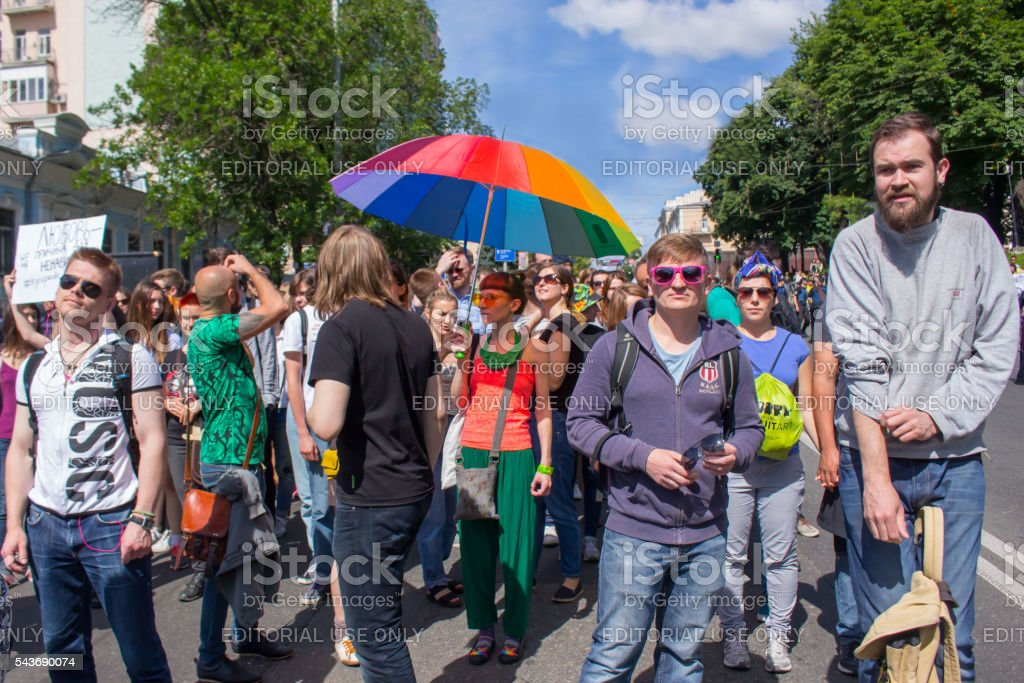 Participants of Equality march in Kiev stock photo