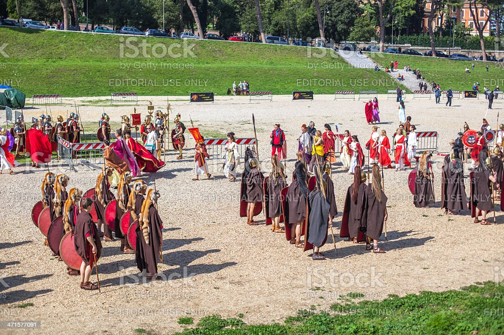 Participants of  historic-dress procession prepare for performance royalty-free stock photo