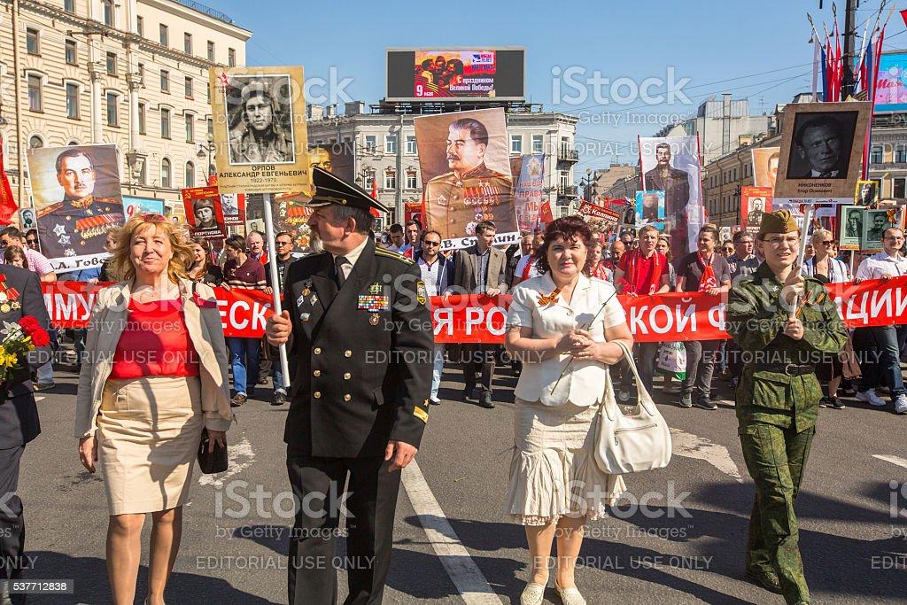 Participants of Immortal Regiment - international public action stock photo
