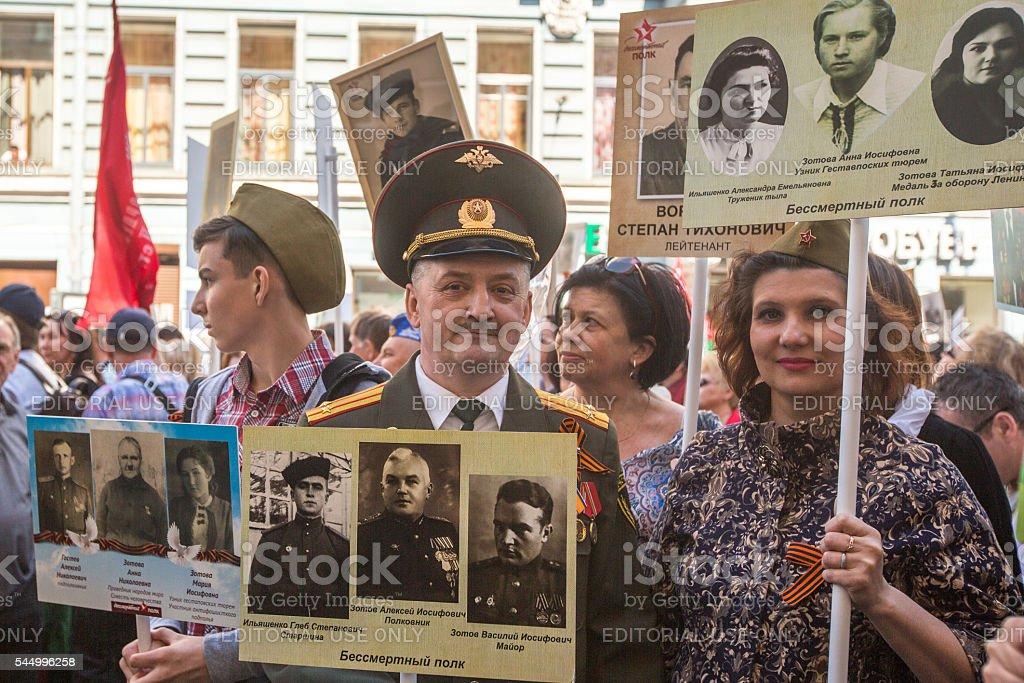 Participants of Immortal Regiment - public action stock photo