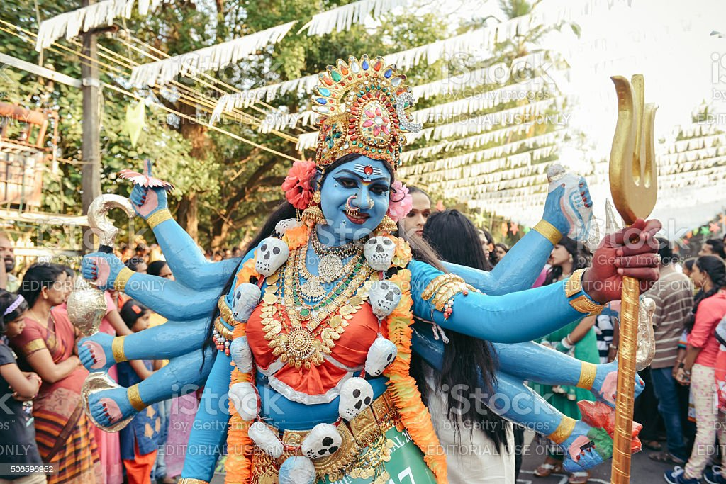 Participants of New Year carnival in festival costumes in Kochi stock photo