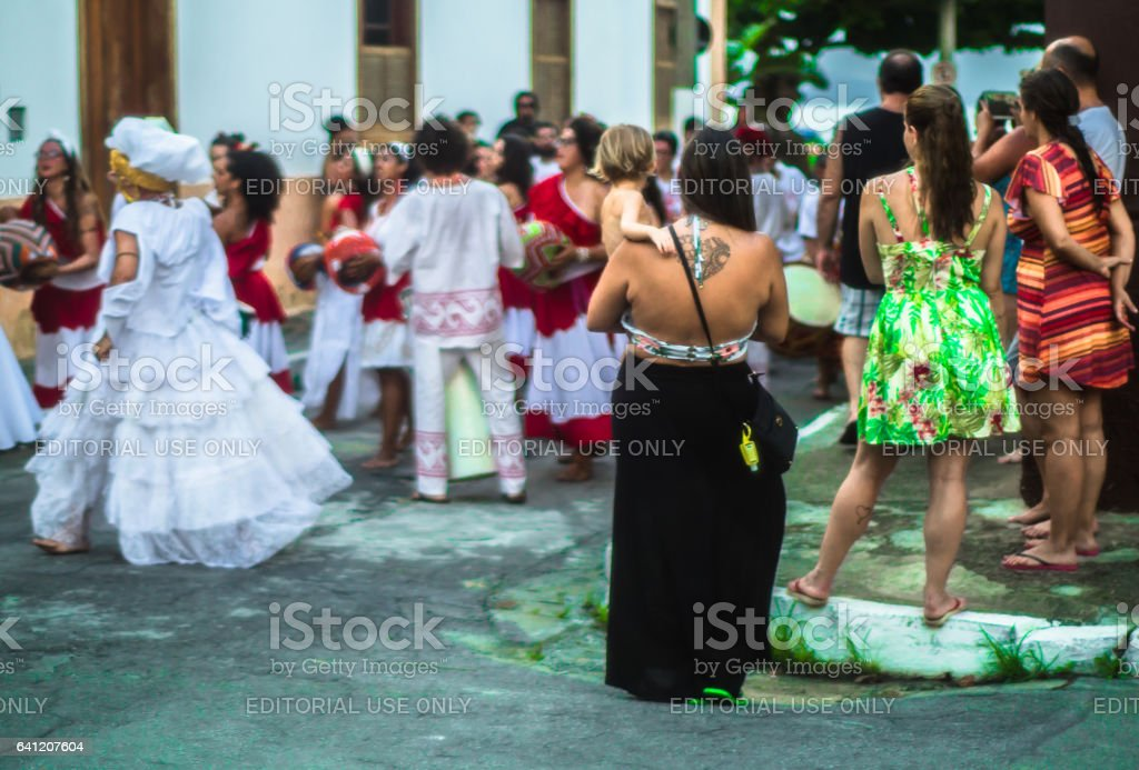 Participants of the maracatu group Odé da Mata stage the maracatu stock photo