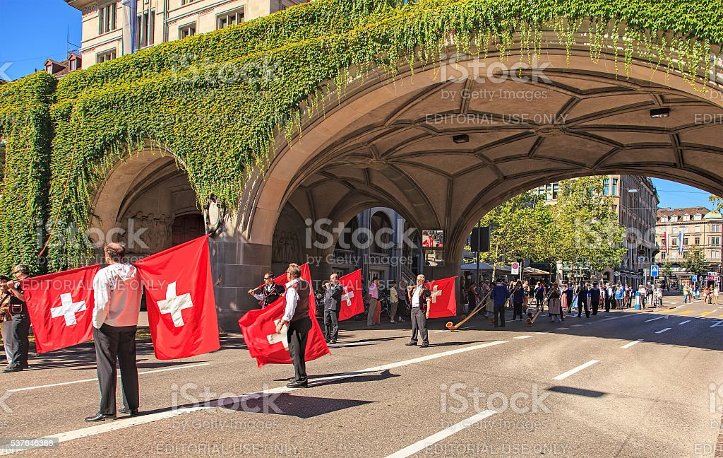 Participants of the Swiss National Day parade stock photo