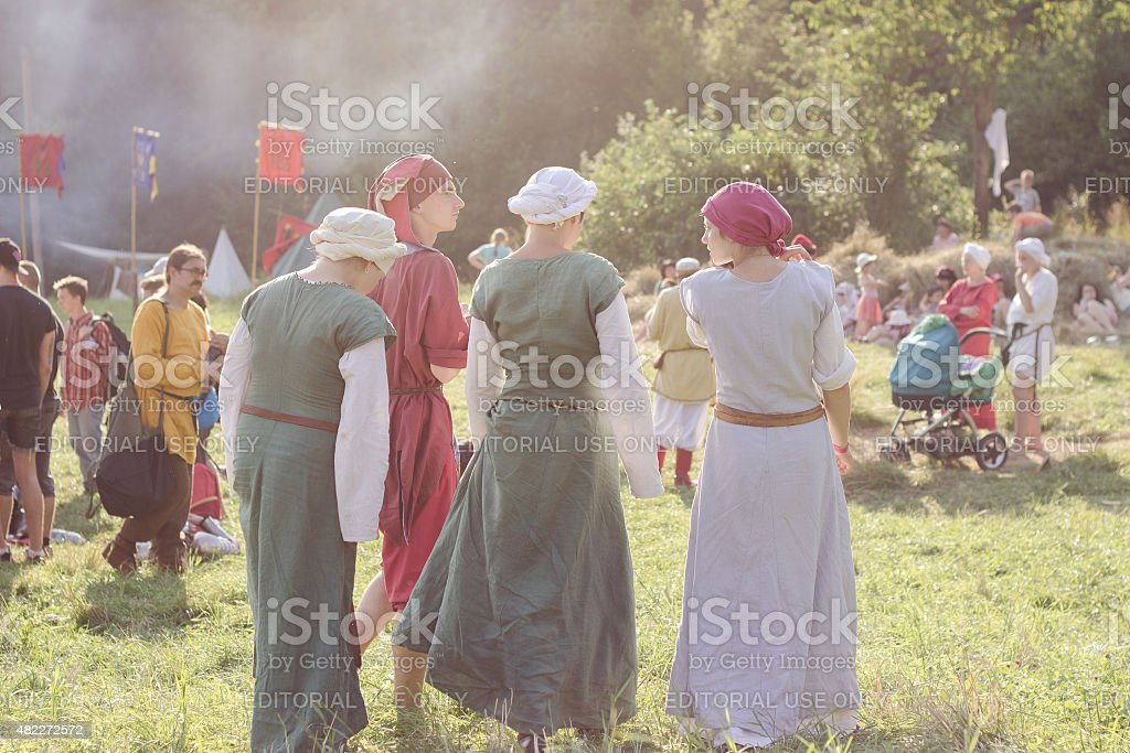 Participants of Tustan' festival in Urych, Ukraine, August 2, 20 stock photo