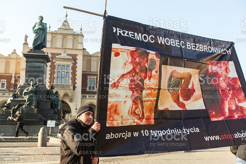 Participants protests against abortion on Main Market Square stock photo
