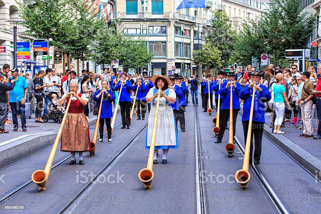 Participants the Swiss National Day parade in Zurich stock photo