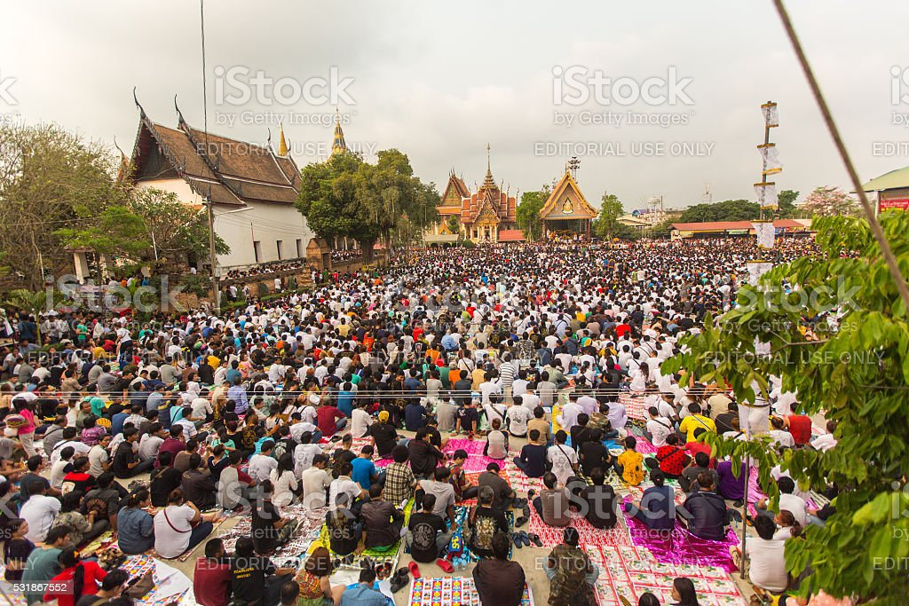 Participants Wai Kroo (Luang Por Phern) Master Day Ceremony stock photo