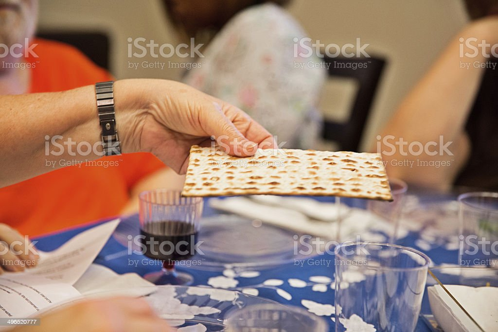 Participating in a traditional Passover seder royalty-free stock photo