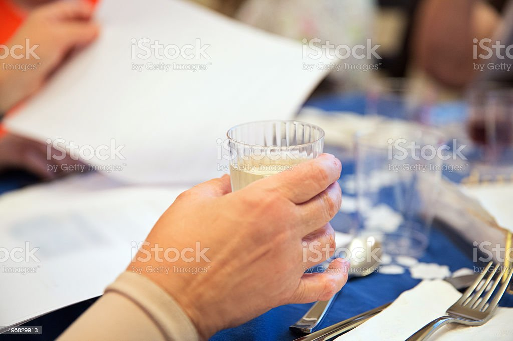 Participating in a traditional Passover seder stock photo