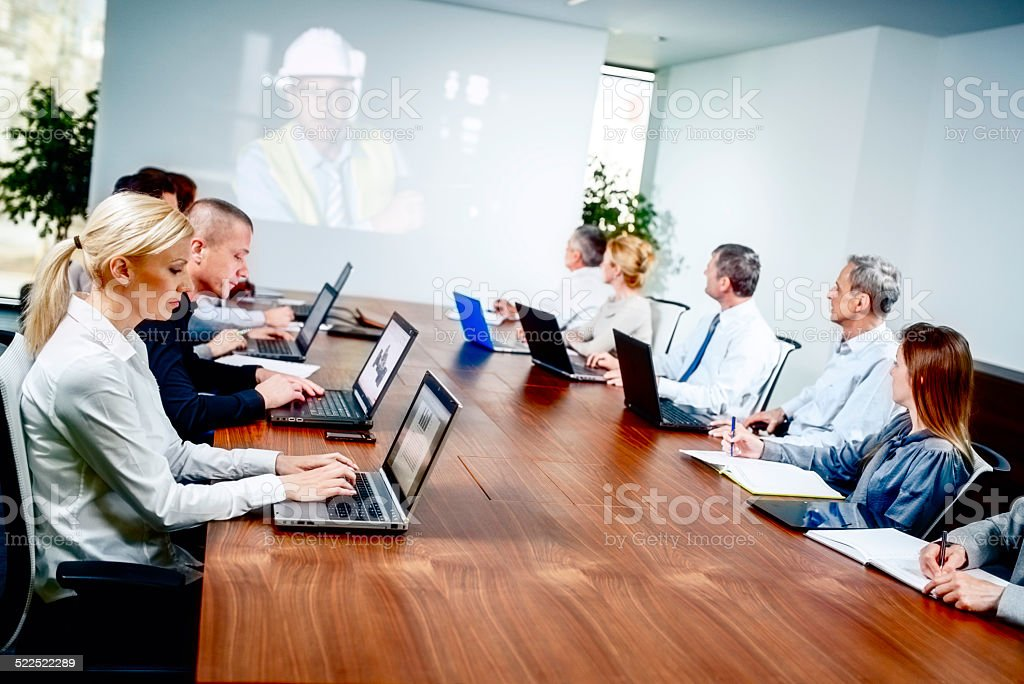 Participating in a Video Conference stock photo