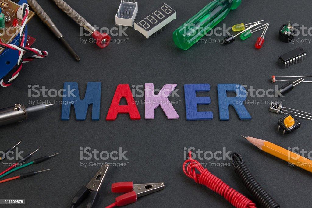Particle maker kit, electronics project maker kit, circuits kits. stock photo