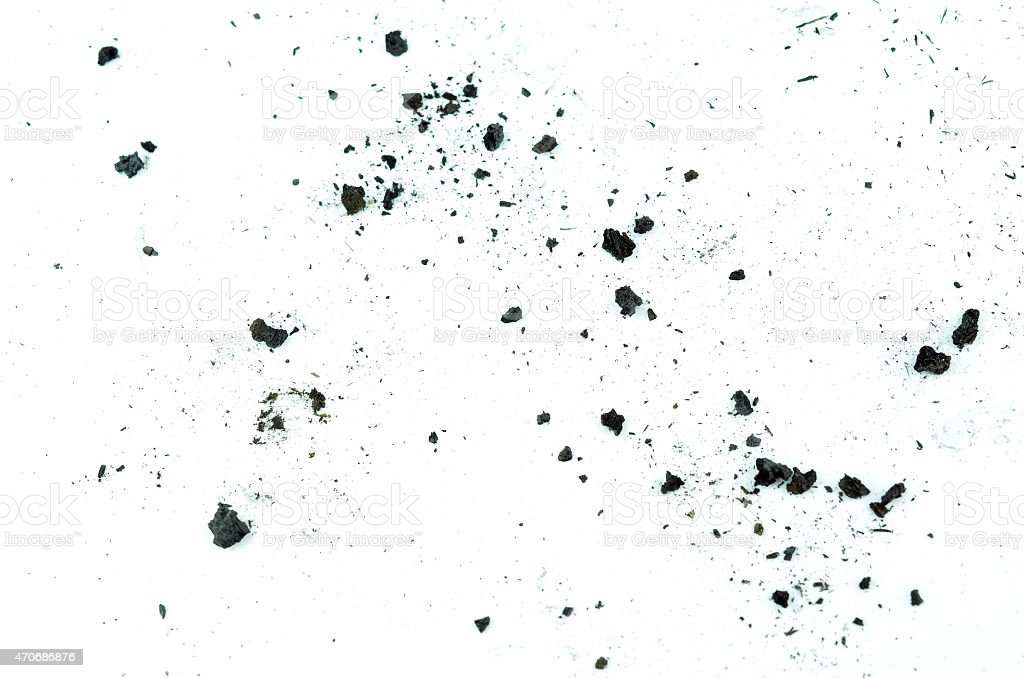 particles of charcoal on a white background stock photo