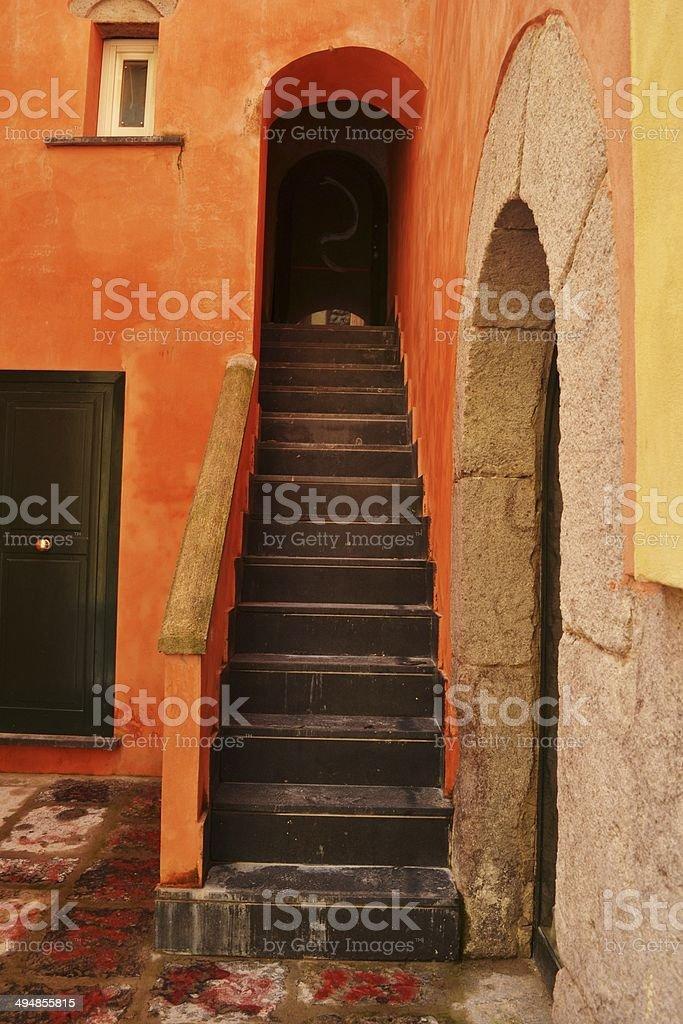 Particolare di un antico palazzo stock photo