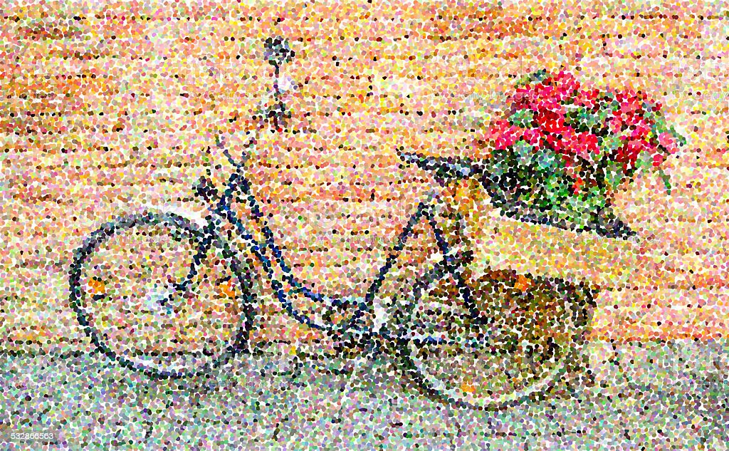 Parti-colored pointillized of bicycle vector art illustration