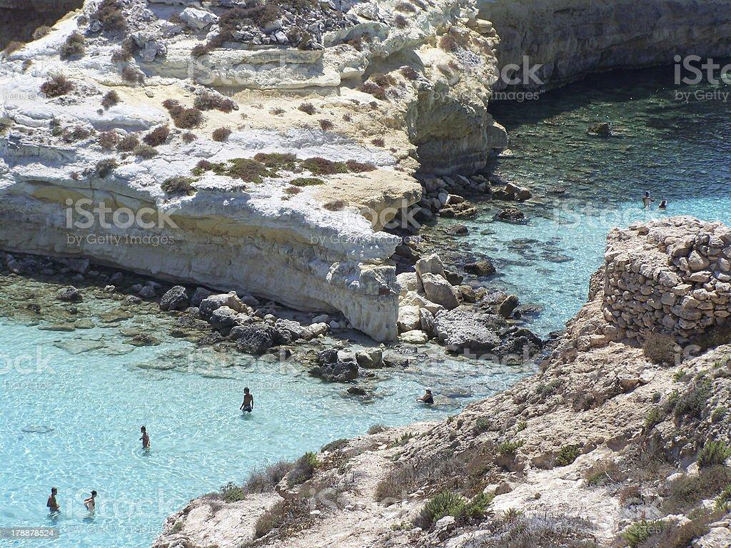 particular of rabbits island. Lampedusa- Sicily stock photo