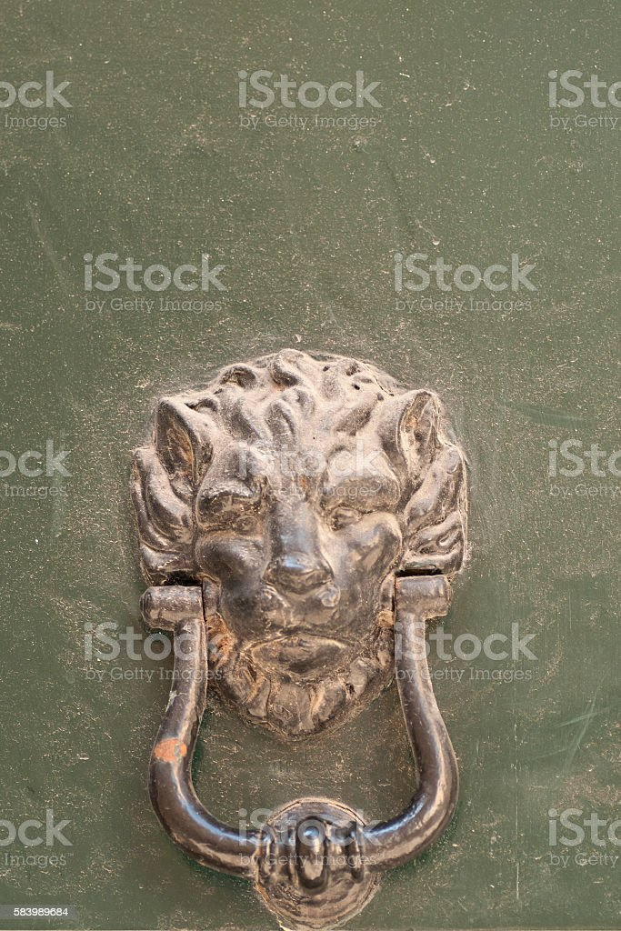particularly embossed lion-shaped metal and an old door stock photo