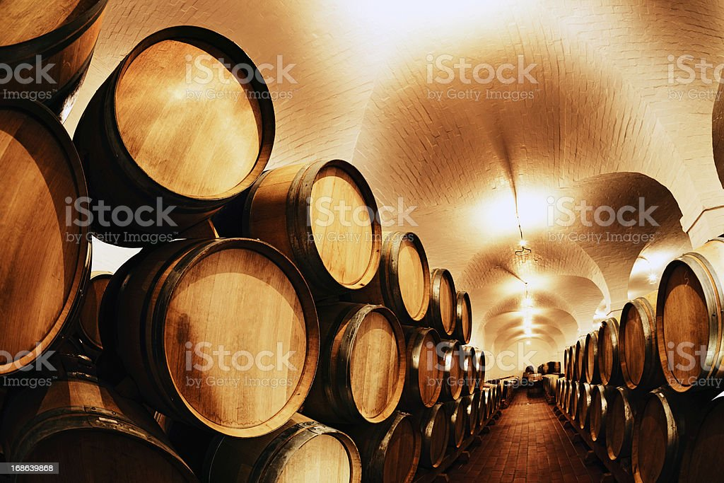 Parties in waiting! Hundreds of wine barrels at winery royalty-free stock photo
