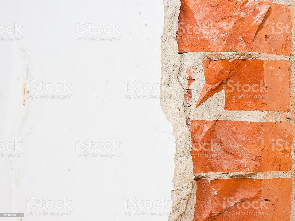 Partition brick wall in an old italian building stock photo
