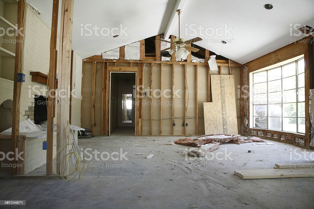 Partition Wall In House Under Renovation stock photo