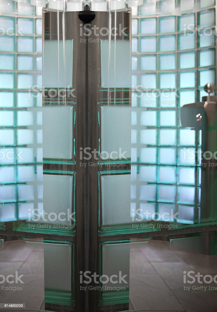 Partition walls made of semitransparent glass blocks stock photo