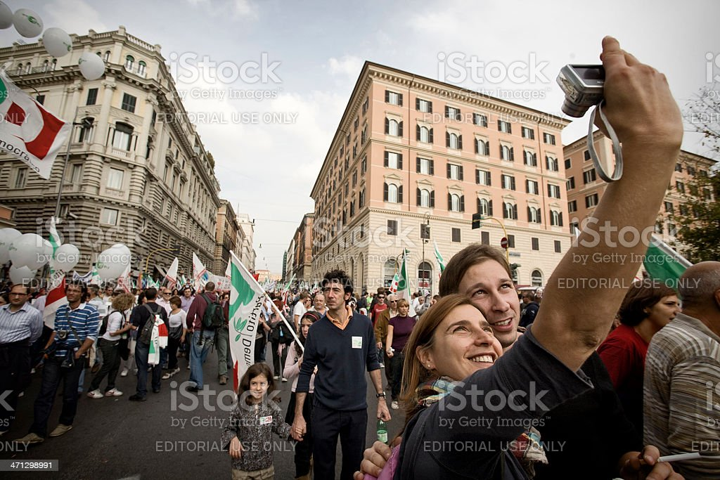 Partito Democratico Demonstration in Rome, Italy stock photo