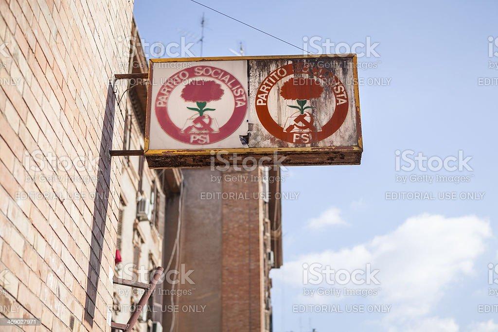 Partito Socialista Italiano old weathered sign stock photo