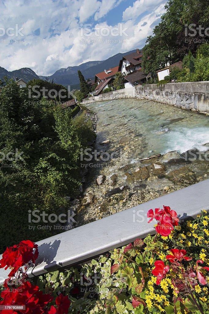 Partnach river in Garmisch-Partenkirchen stock photo