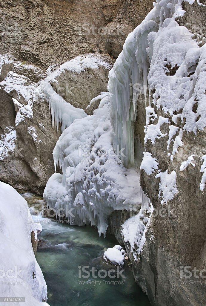 Partnachklamm - Partnach gorge near Garmisch-Partenkirchen. Bavaria. Germany stock photo