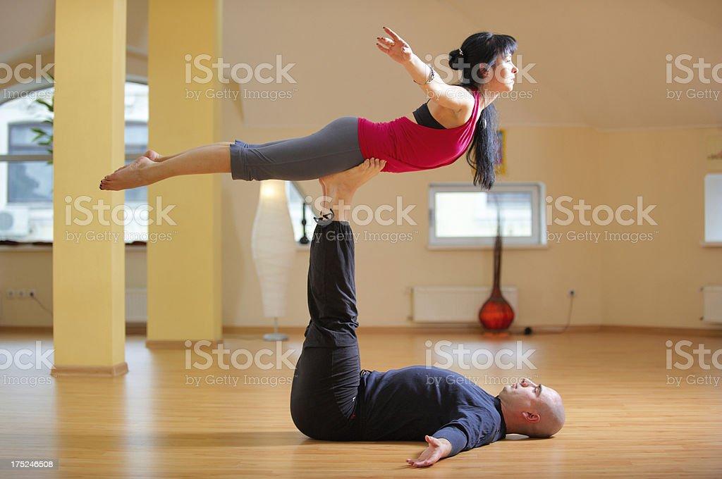 partner yoga stock photo