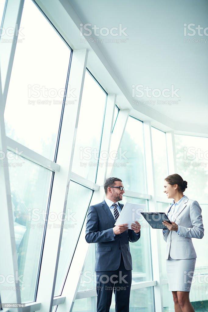 Partners talk stock photo