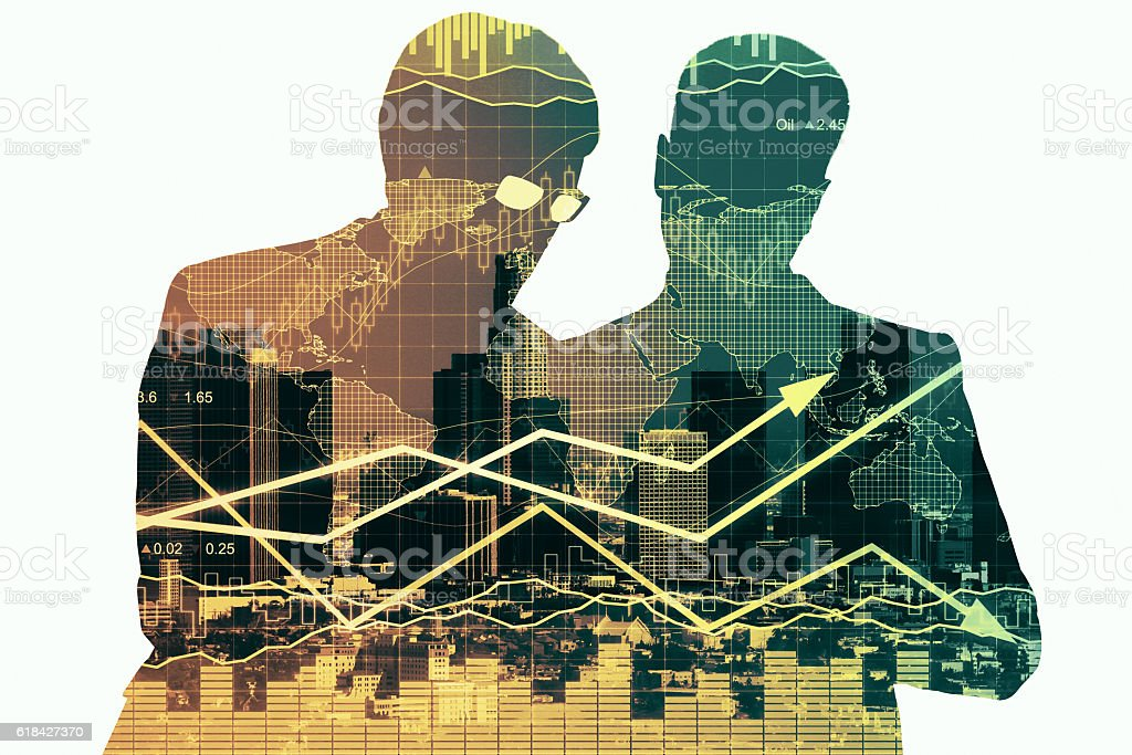 Partnership and financial growth concept stock photo