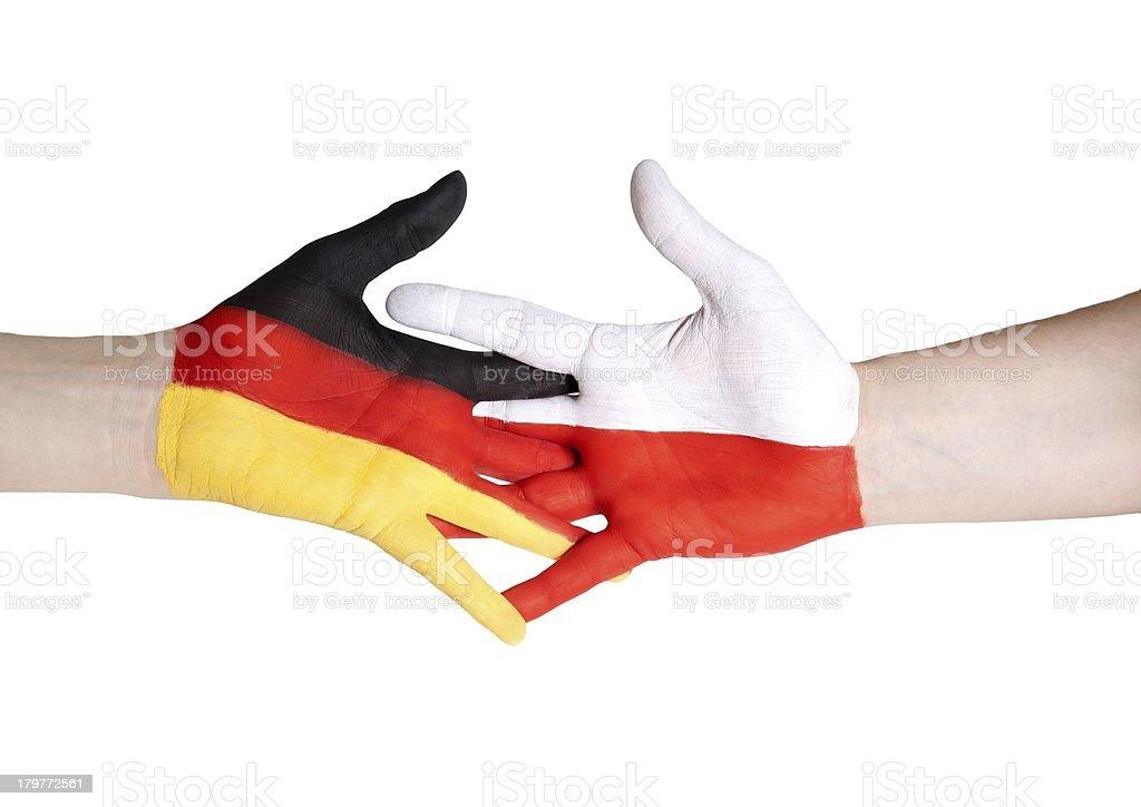 partnership between germany and poland royalty-free stock photo