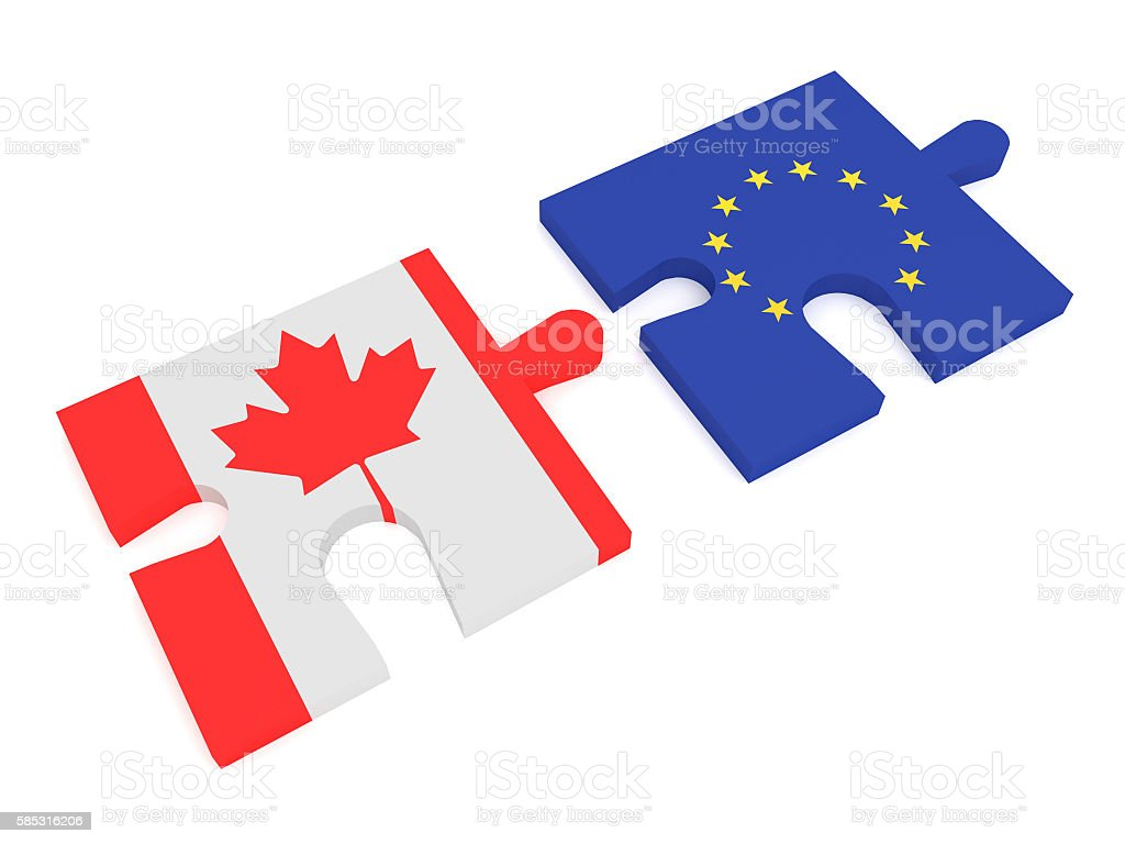 Partnership Canada, EU: Puzzle Pieces Canadian flag and EU Flag stock photo