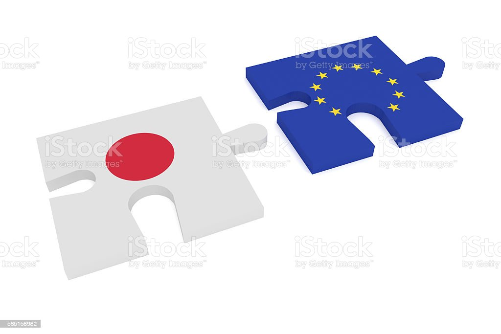 Partnership: Puzzle Pieces Japanese flag and EU Flag, 3d illustration stock photo