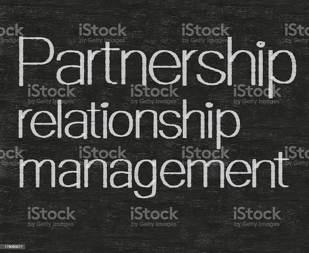 partnership relationship management marketing terms written on blackboard background royalty-free stock photo