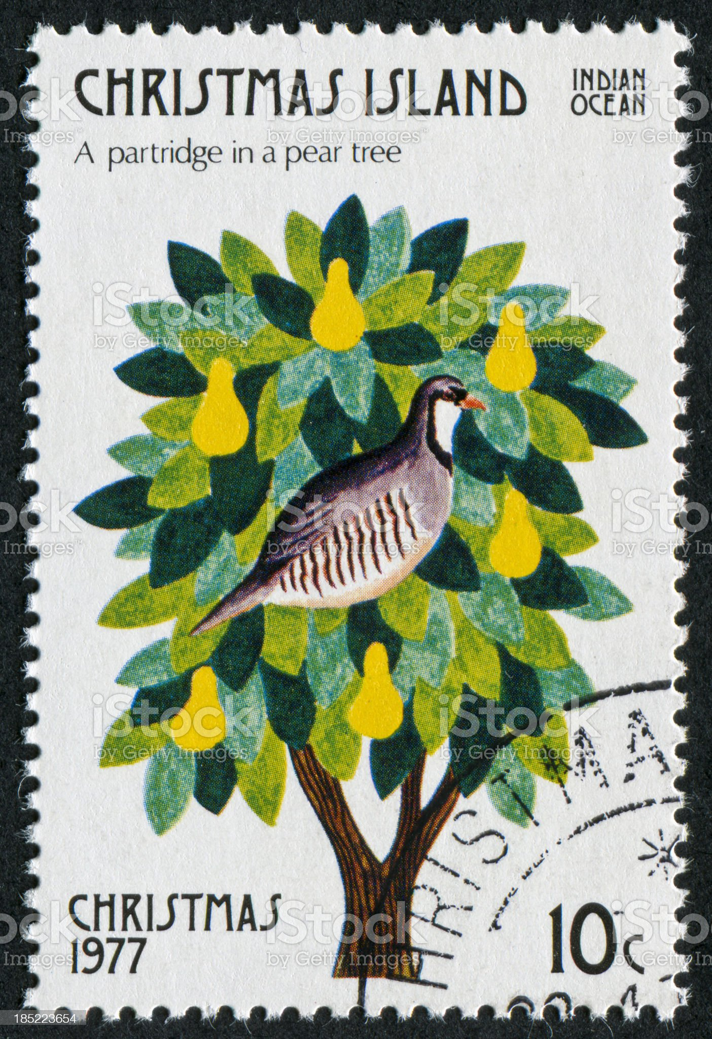 Partridge In A Pear Tree Stamp royalty-free stock photo
