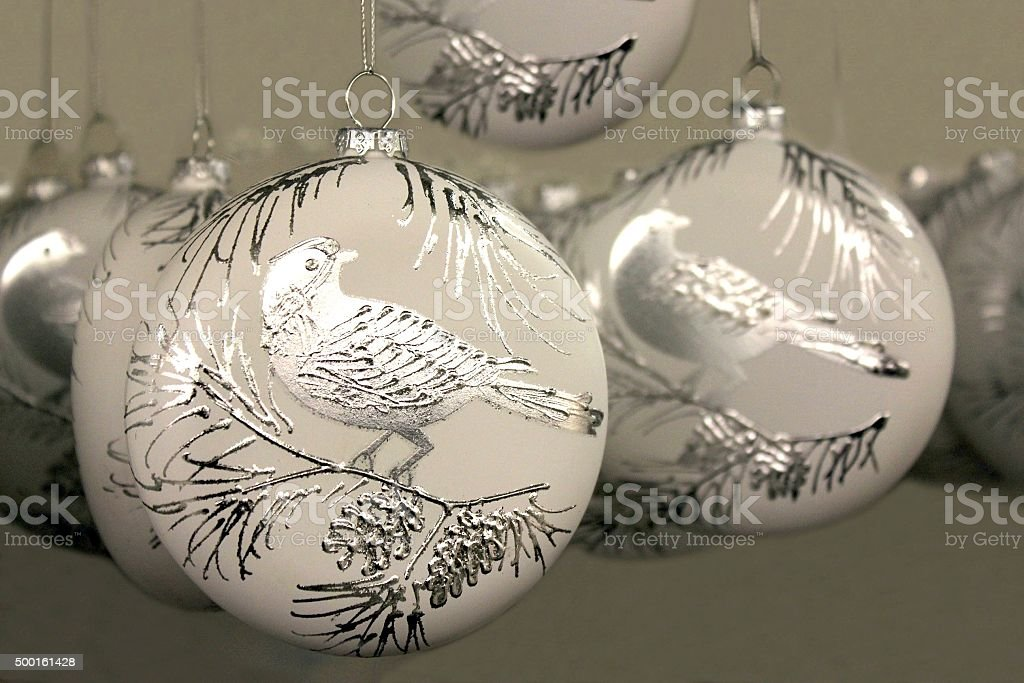 Partridge In A Pear Tree White Christmas Ornament stock photo