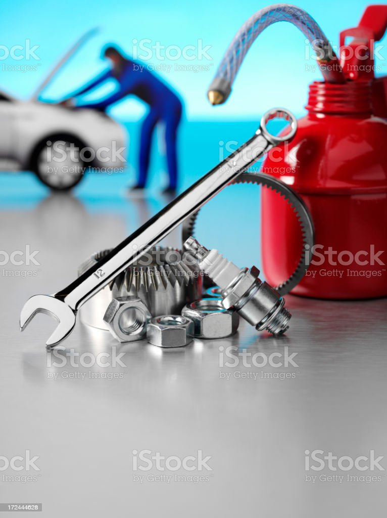 Parts for a Car service and Red Oil Can royalty-free stock photo