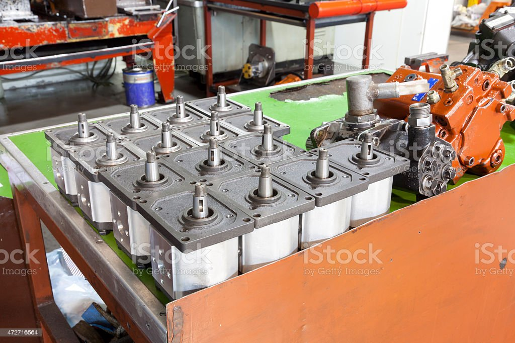 Parts of hydraulic pumps stock photo