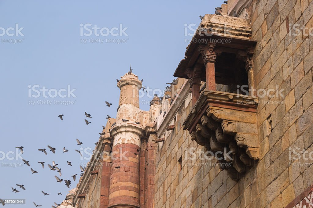 parts of 'Qila-i-Kuhna' Mosque at Purana Qila, India stock photo
