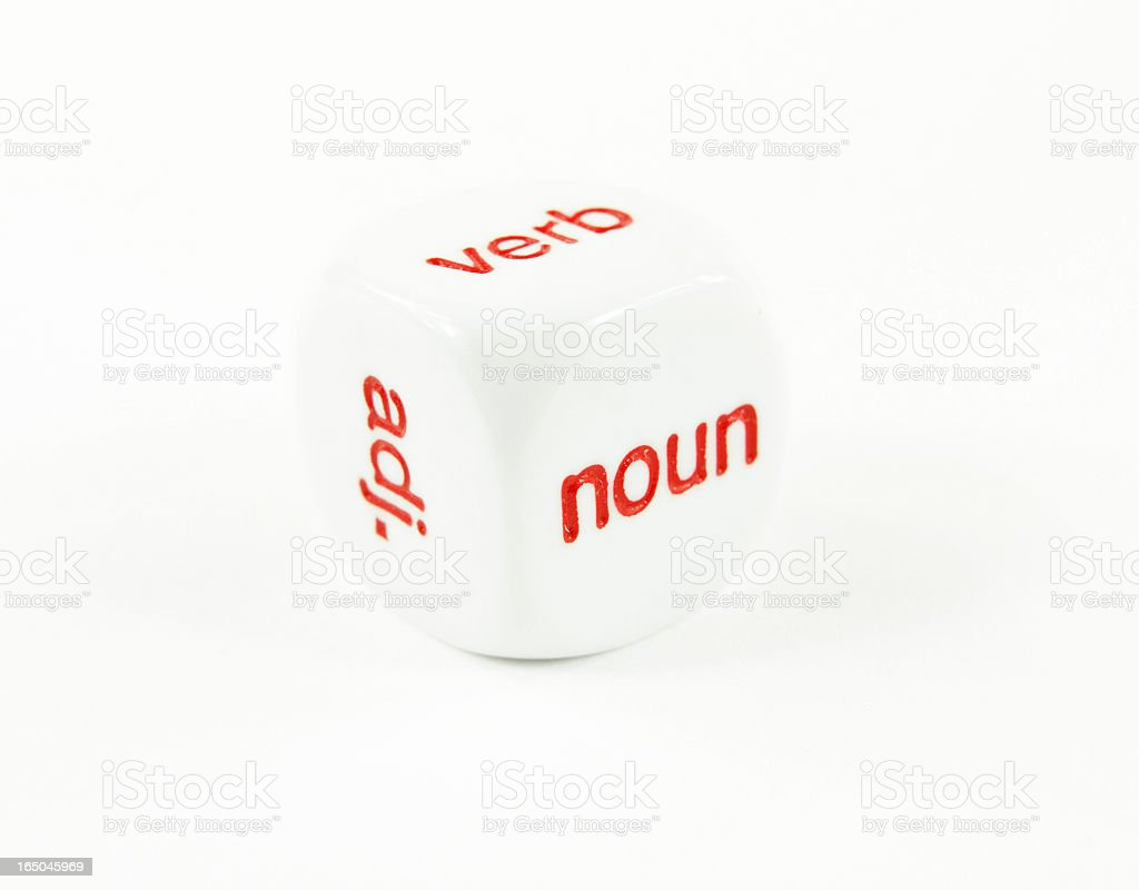 Parts of Speech- noun, verb adj. on a cube stock photo