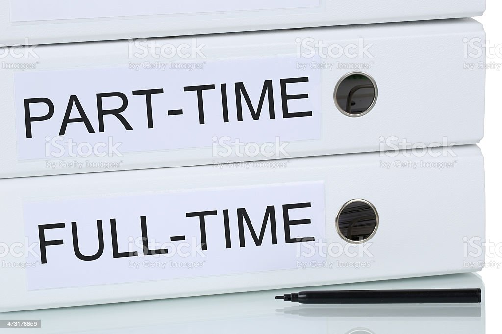 Part-time and full-time job business concept stock photo