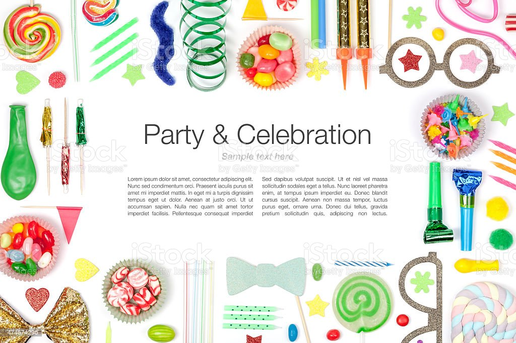party and celebration elements on white background stock photo