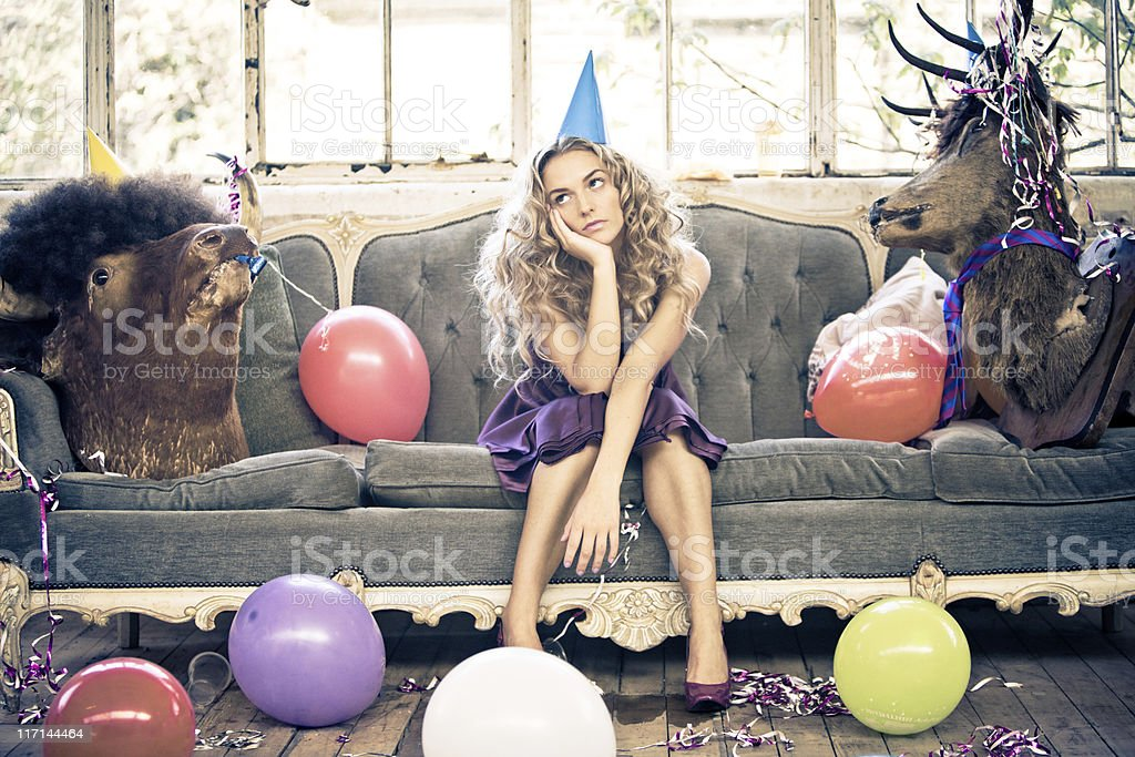 Party Animals and Beautiful Young Woman royalty-free stock photo