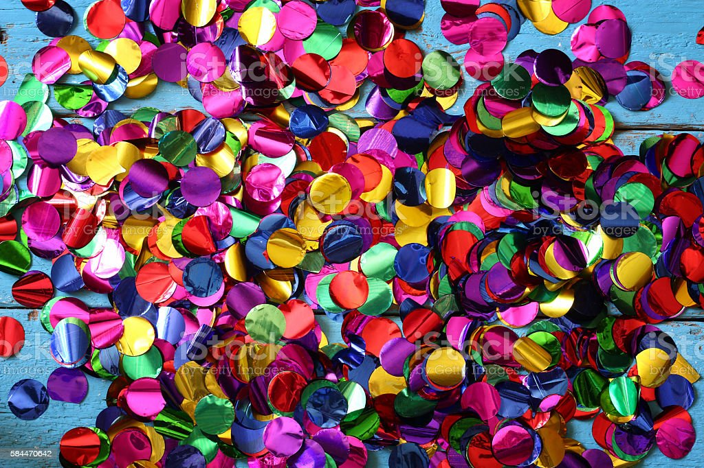 party background with colorful confetti stock photo